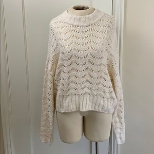 Urban Outfitters slouchy open knit cream sweater